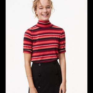 NWT LOFT Sz S Striped Swing Tee Crimson/Plum/Blush